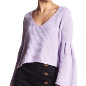 Free People Damsel Bell Sleeve Crop Sweater